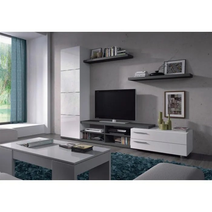 adhara meuble tv 2 etageres murales melamines blancs brillants et gris cendre l 240 cm
