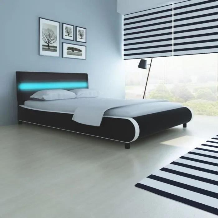 lit avec tete de lit adulte contemporain cadres de lit structure de lit dormir chambre 140cm rembourrage en cuir synthetique noir