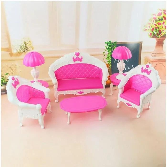 tempsa 6pcs jolie dollhouse meuble vie salon salle sofa pour poupee barbie