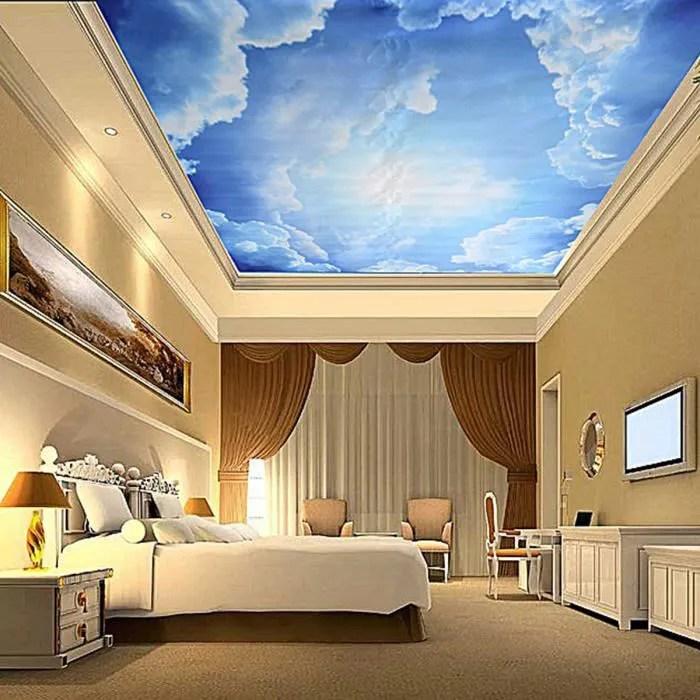 3D Papier Peint Bleu Ciel en Toile Autocollant Murale Plafond Chambre Salon Deco  Achat  Vente