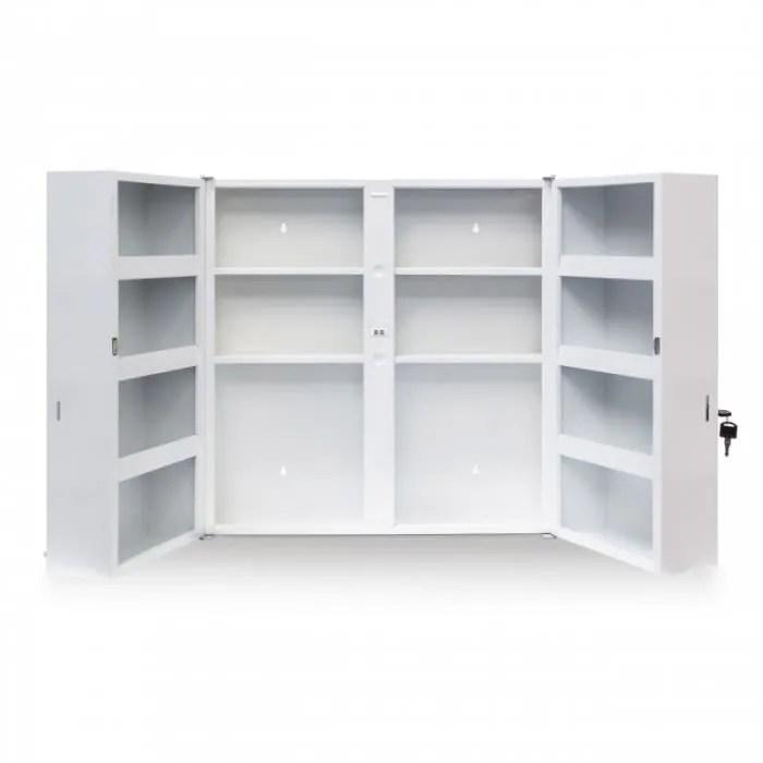 armoire a medicaments pharmacie mdf et verre avec deux cles 53 x 53 cm 2013017
