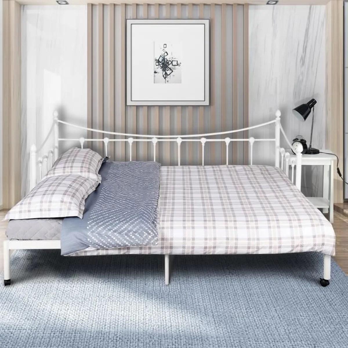 cadre de lit lit gigogne en metal blance 160 200cm