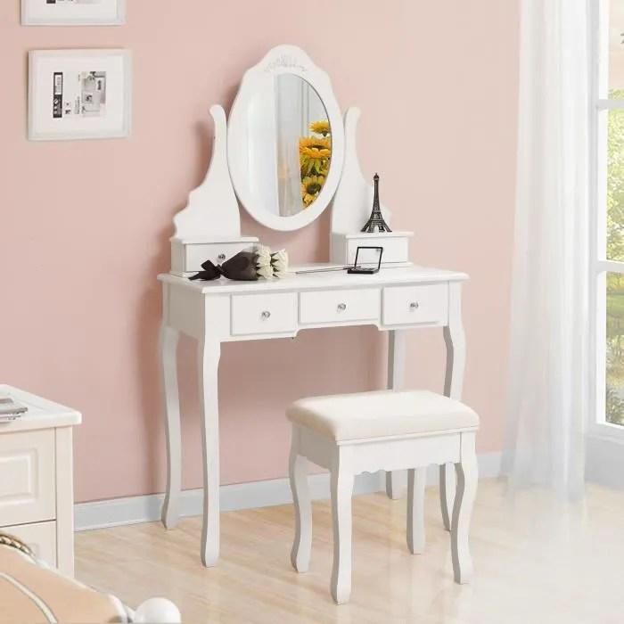 songmics coiffeuse table de maquillage avec 1 miroir 5 tiroirs et 1 tabouret parois miroir pivotant 80 x 40 x 140 cm rdt09w