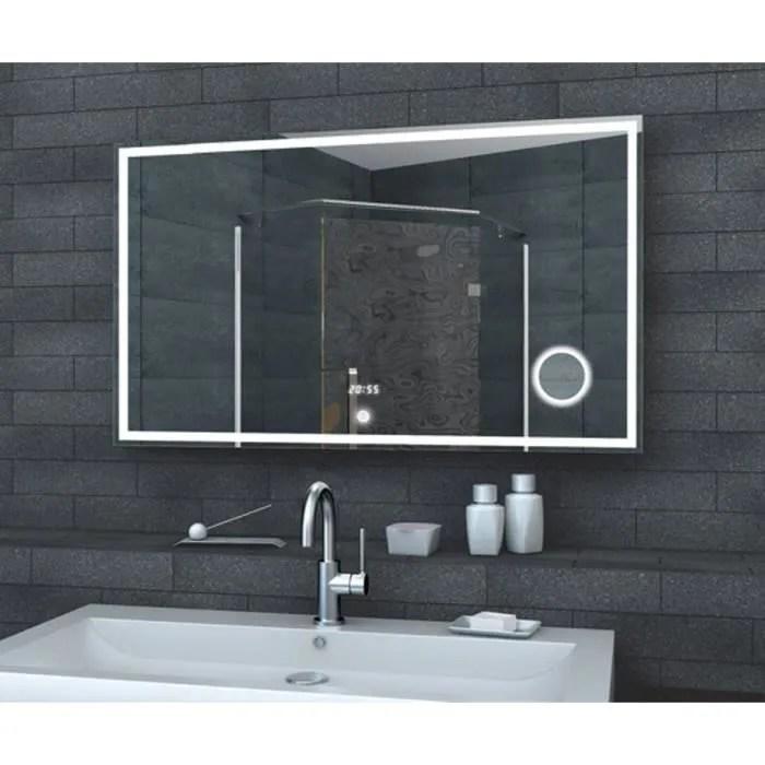 Miroir de salle de bain LED avec horloge miroir et SWITCH TOUCH 100x60cm  Achat  Vente miroir