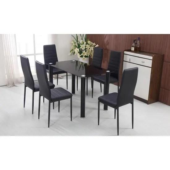 chicago lot de 6 chaises de salle a manger noir chaises de cuisine achat vente chaise cdiscount