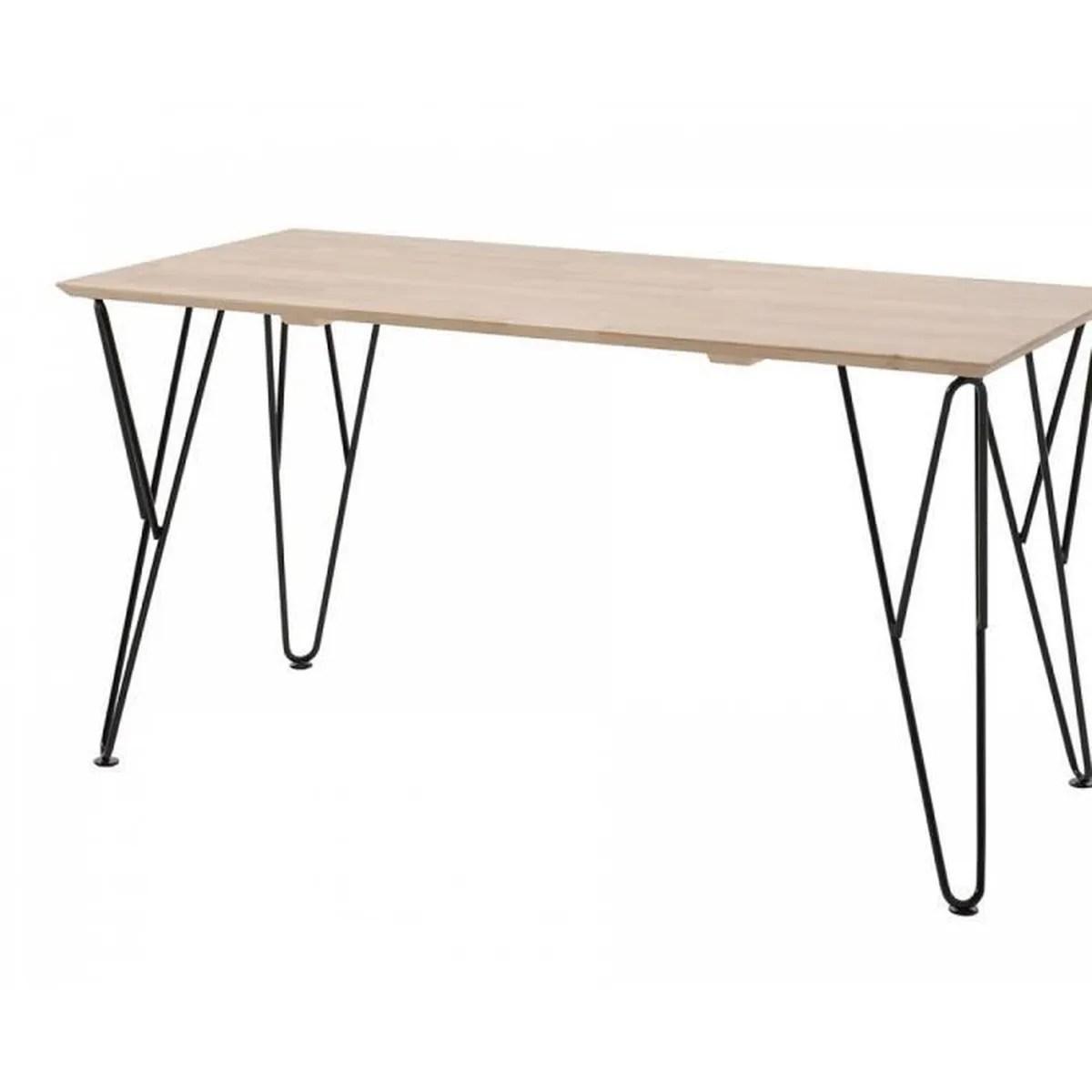 vipack bureau william plateau bois massif vernis et pieds metal noir 150 cm