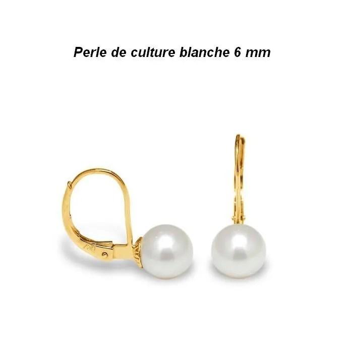 boucles d oreille dormeuses perle or jaune 24 carats gf