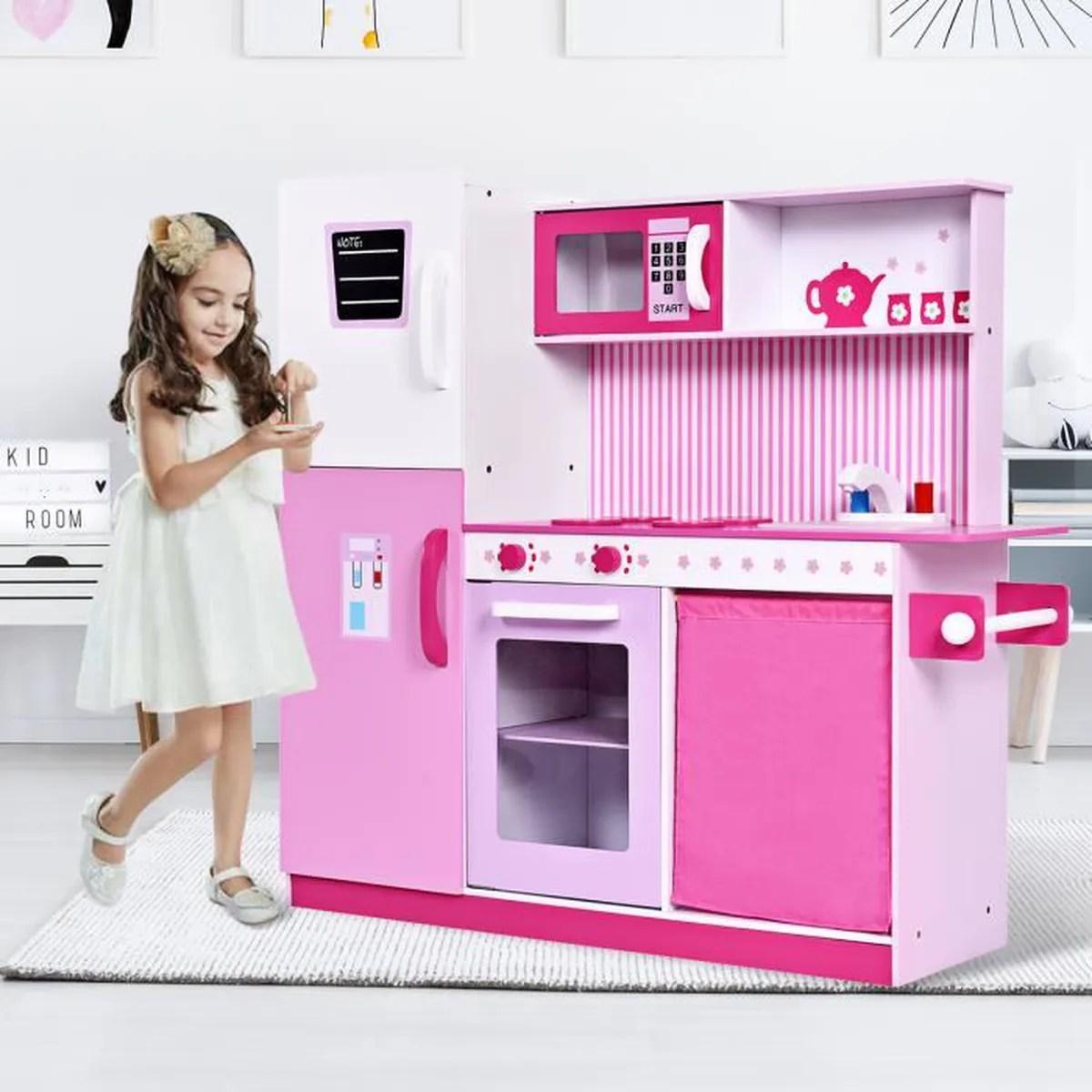 Enfants Cuisine cratifs jouer jouets cuisine en bois jouet rose  Achat  Vente dinette