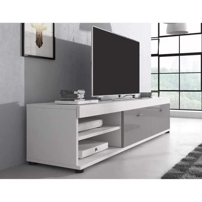 meuble tv blanc mat et gris laque 140 cm