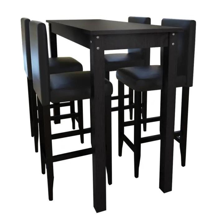 set de 1 table bar 4 tabourets noir pour salle a manger salon hall stable haute qualite durable