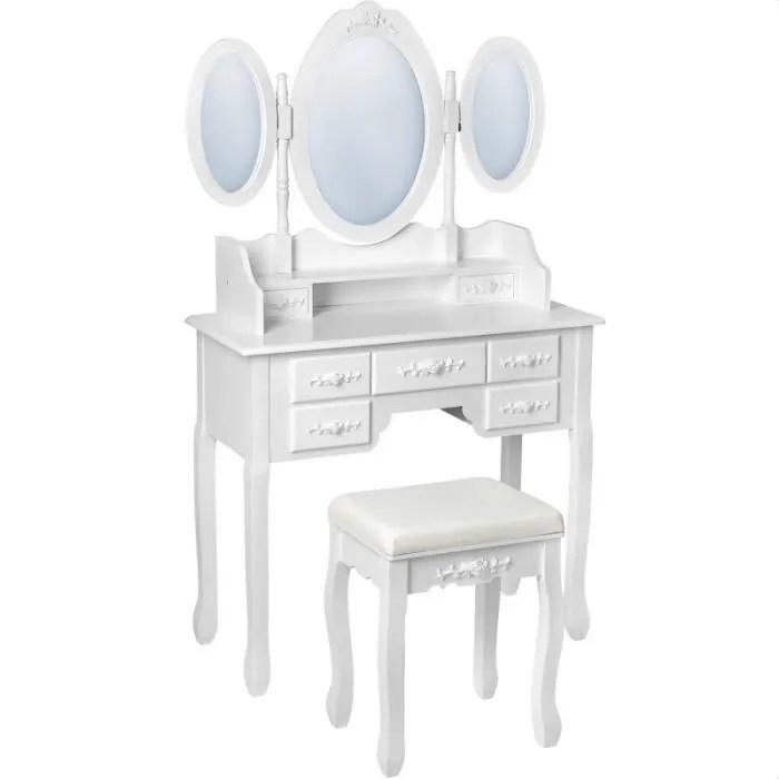 Table De Maquillage Avec 7 Tiroirs Miroir Et Tabouret