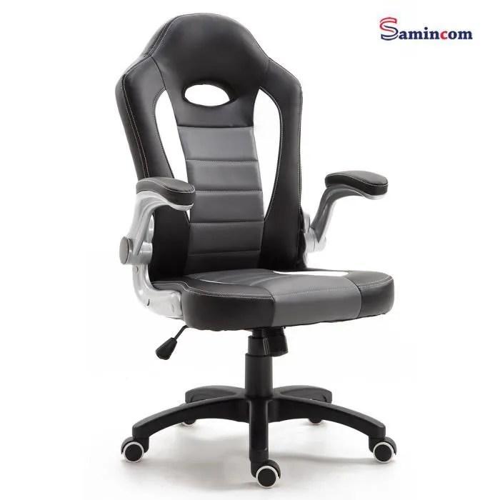 samincom chaise de bureau avec dossier haut accoudoirs rabattables grande chaise d ordinateur de sport de course avec siege