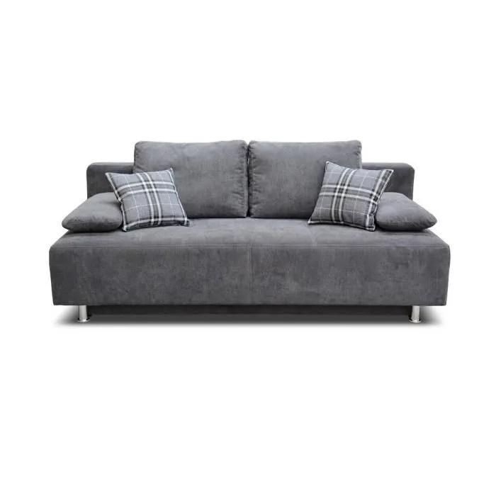 canape convertible canape 3 places canape lit avec coffre rangement et 2 coussins contemporain pieds plastique tissu tendance gris