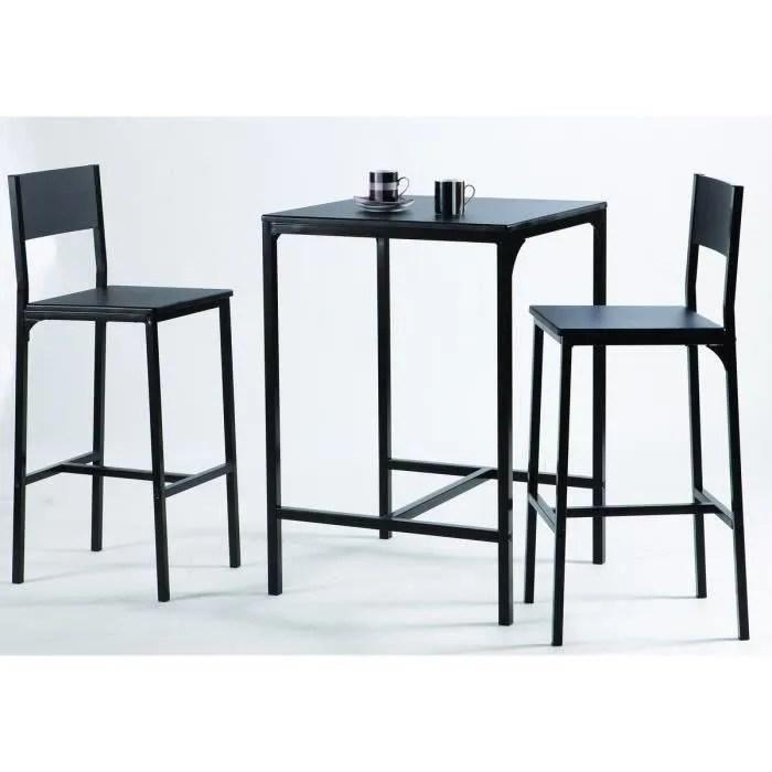 kool ensemble table bar en metal et mdf 2 personnes 60x60 cm 2 tabourets noir mat