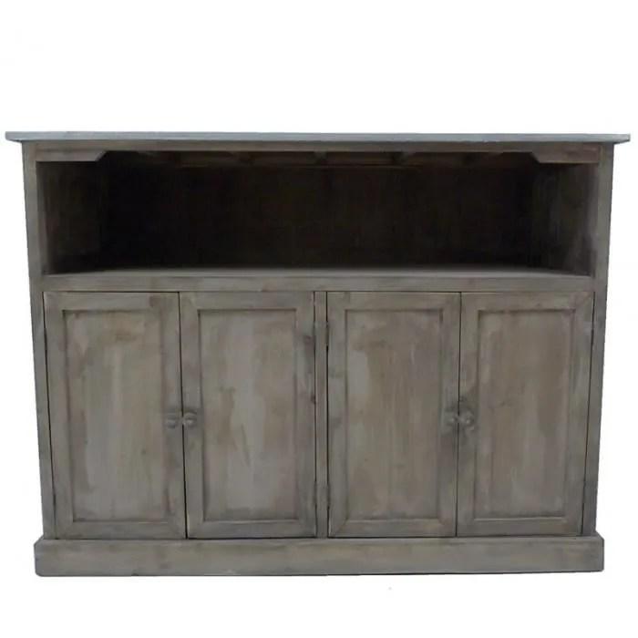 comptoir de cuisine meuble de salle de bain bar bahut en bois avec plateau zinc 47x90x120cm marron