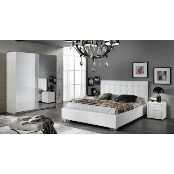 CHAMBRE A COUCHER Moderne laqu blanc brillant  Achat  Vente chambre complte CHAMBRE A