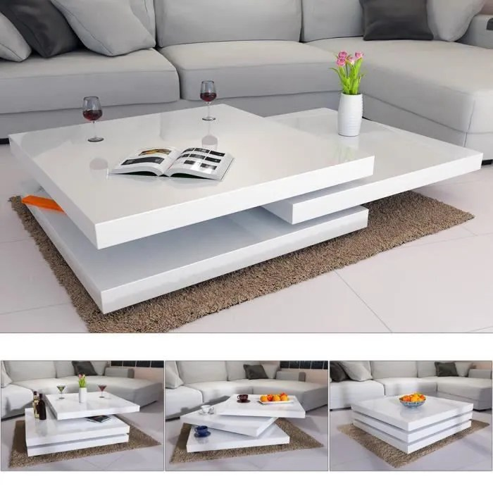 Table Basse Table Basse Moderne Laquee Blanche Salon Design