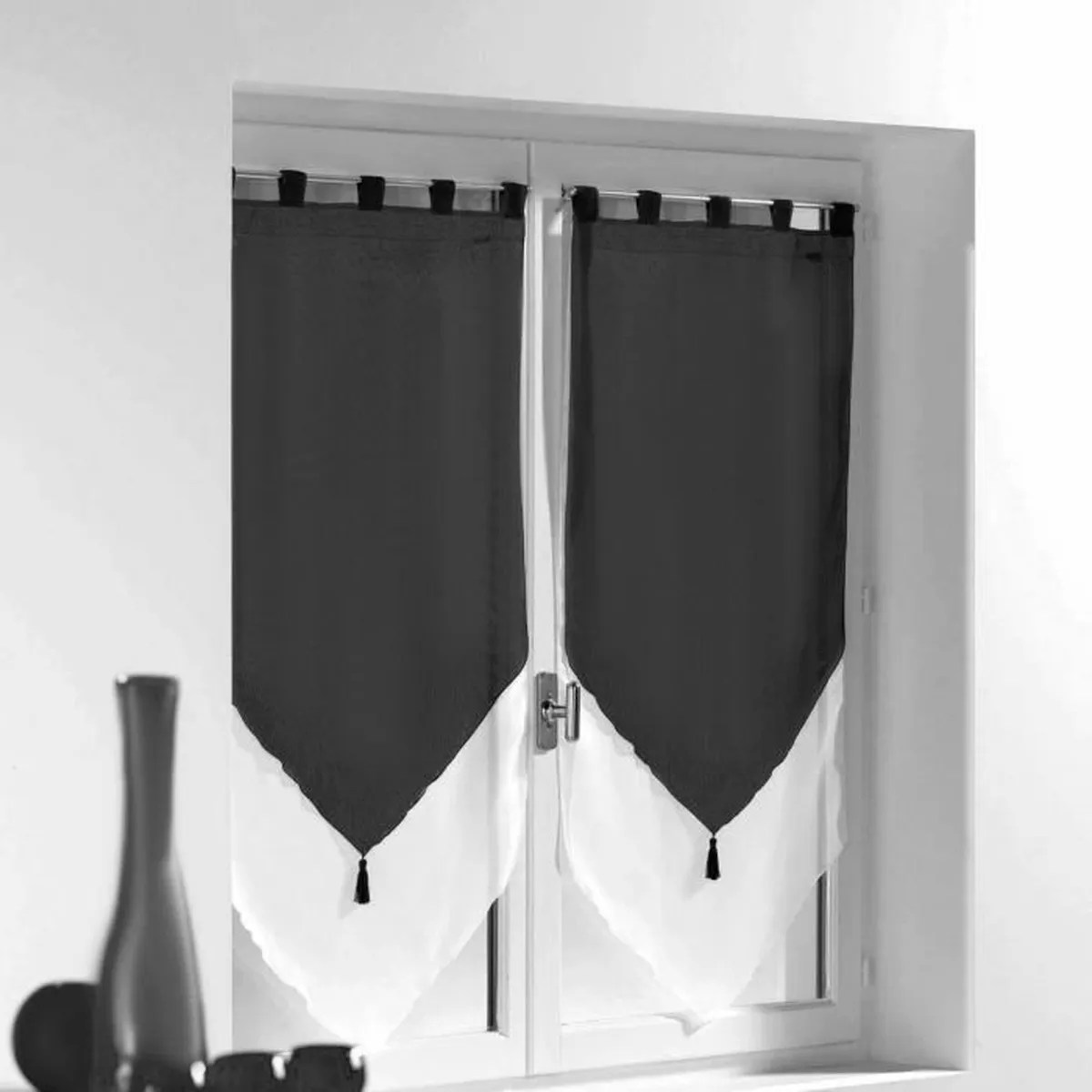 Double Rideau Noir Et Blanc Affordable Rideau Oeillets