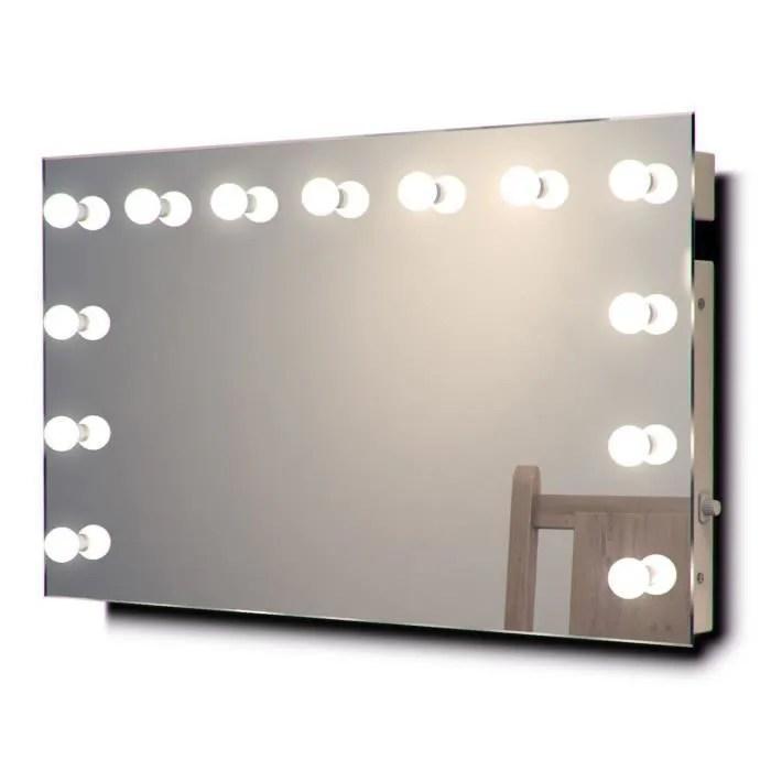 miroir de maquillage hollywood lampes del graduables blanches chaudes k91ww ampoules del blanches chaudes taille l 600mm x l 10