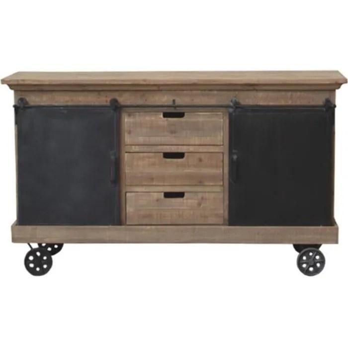 meuble industriel campagne bahut enfilade buffet fer bois 160 cm 14001 enfilade