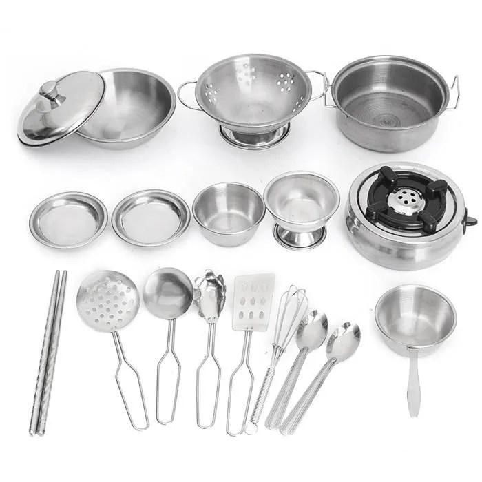tempsa 18pcs jouet de cuisine set inox pour enfant