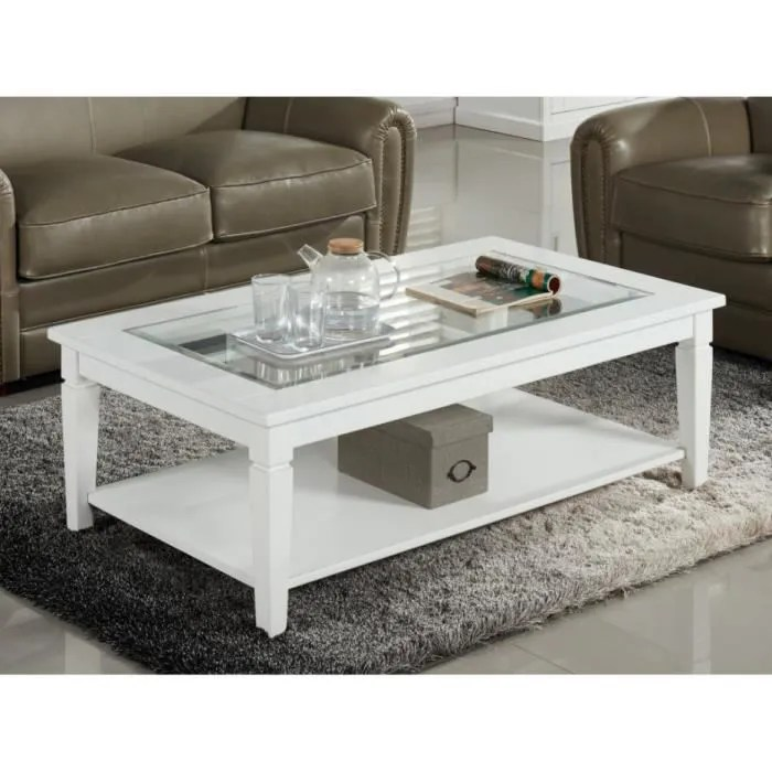 Table basse GUERANDE  Plateau en verre tremp  Pin blanc