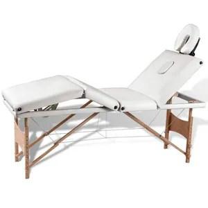 Table de Massage Pliante 4 Zones Crème Cadre en Bois