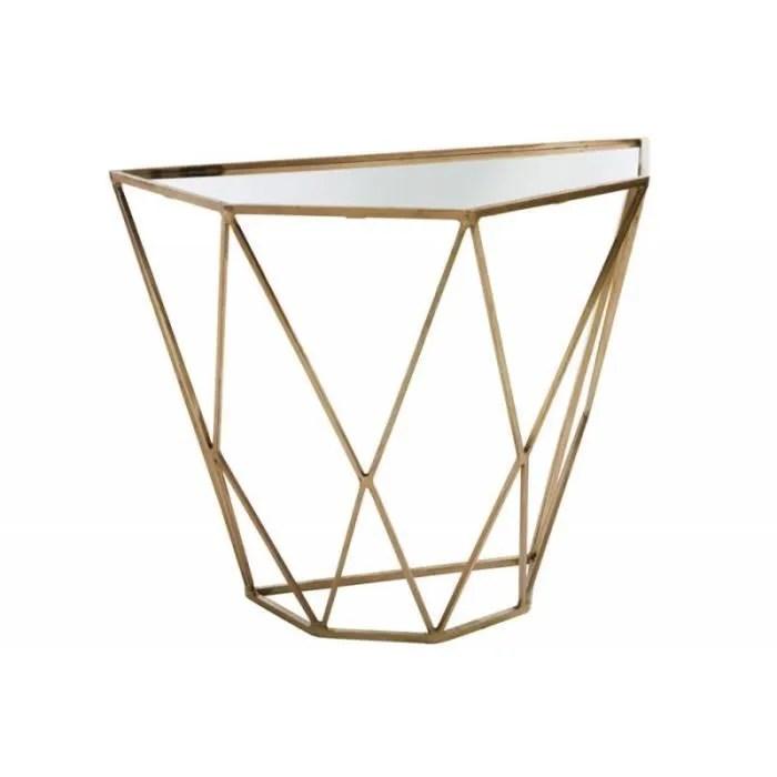 console demi lune geometrique metal miroir or 90x45x76cm or