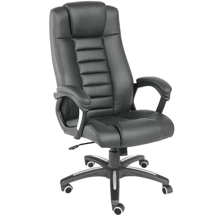 tectake chaise de bureau fauteuil de bureau siege de bureau hauteur reglable pivotante rembourrage epais noir