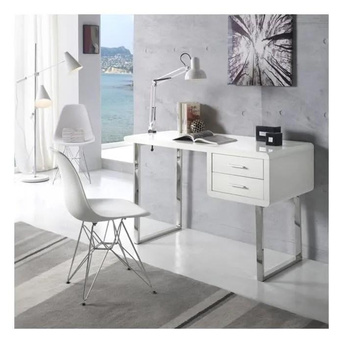 bureau bureau moderne et design maja blanc chrome zenda