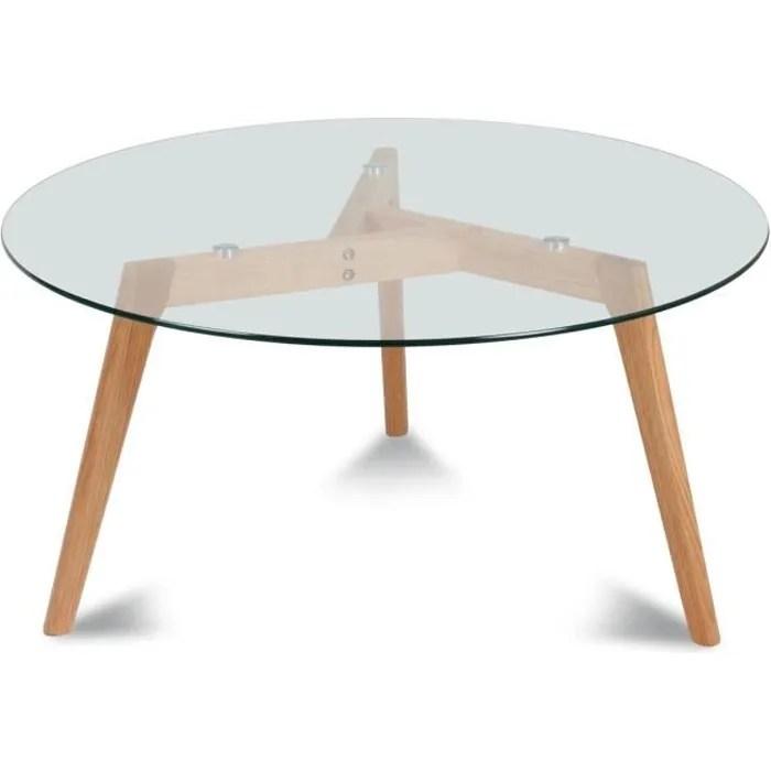 Table Basse Table Basse Ronde Verre Et Bois Fiord D Xh