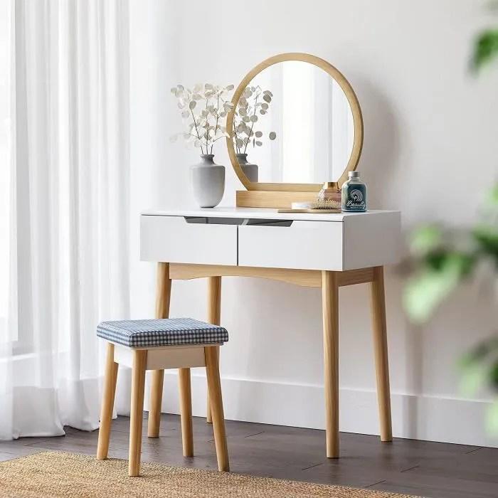 SONGMICS Coiffeuse Table De Maquillage Scandinave Miroir