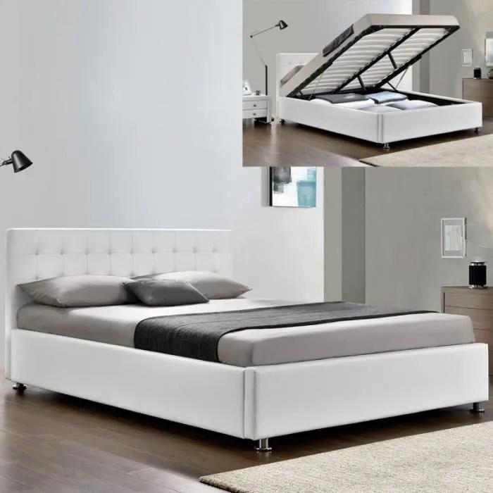 lit complet sommier relevable tete de lit cadre de lit capitole blanc 160x200