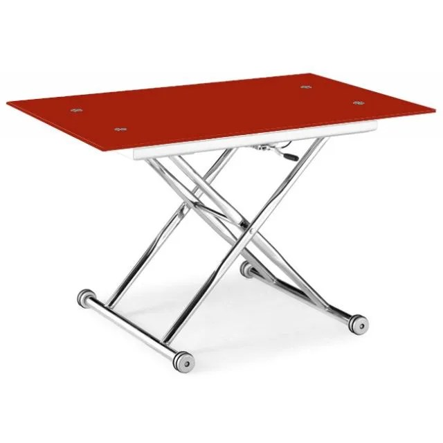 TABLE BASSE RELEVABLE ISA VERRE ROUGE Amp CHROME Achat