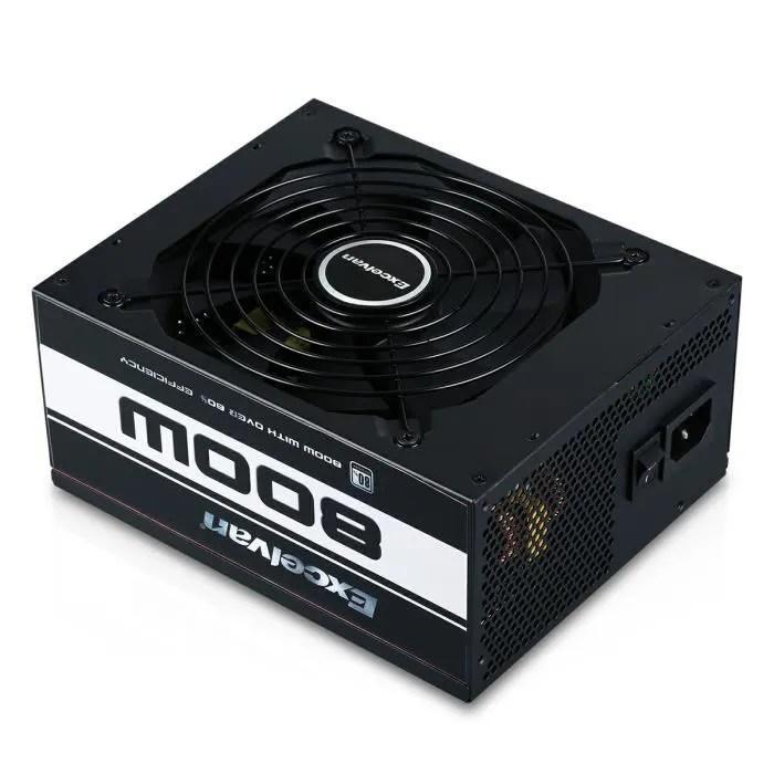 alimentation pc 800wventilateur silencieux faible bruit pour ordinateur de bureau noir