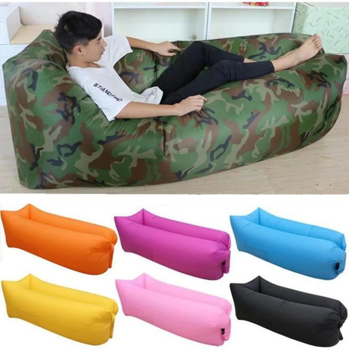 air canape gonflable chaise longue de plage portable canape matelas gonflable impermeable pour les signaux lazy camping camouflage