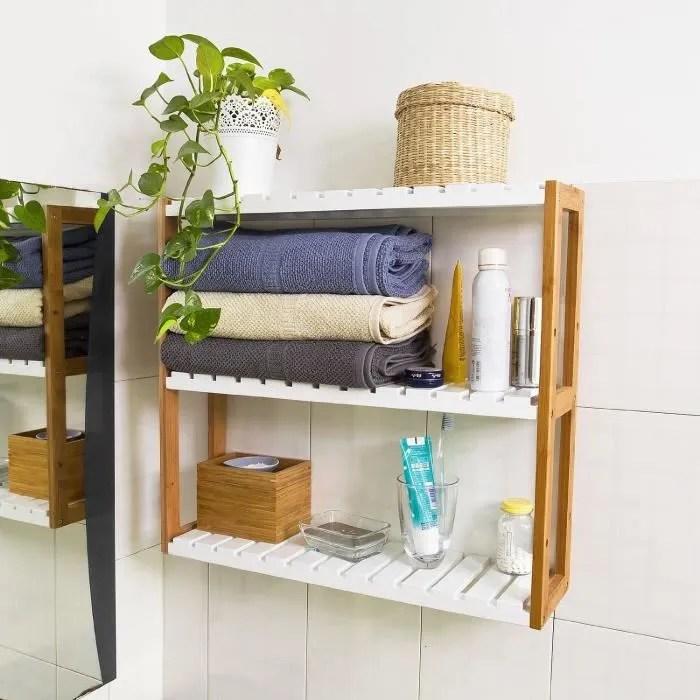 Etagre murale bambou salle de bain toilettes 3 niveaux Meuble de Rangement Cuisine avec 2