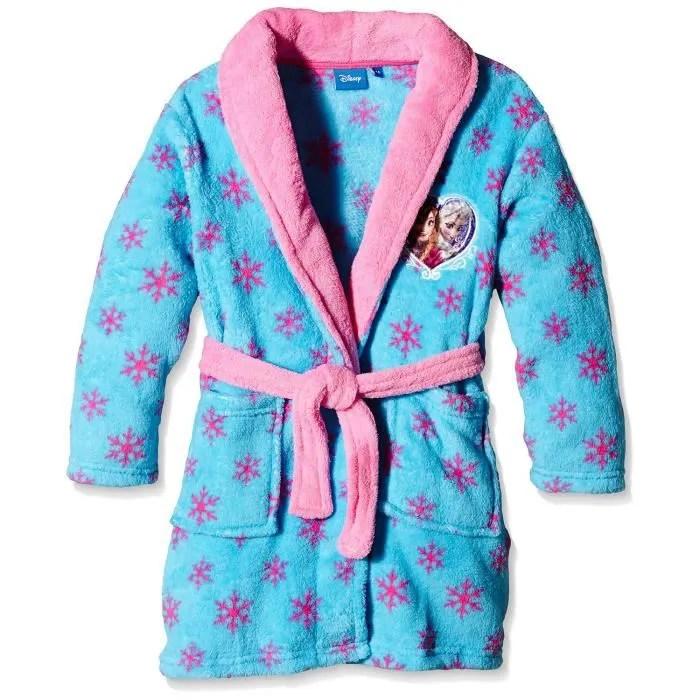 Reine des neiges robe de chambre  peignoir fille bleu Bleu BLEU  Achat  Vente chemise de nuit