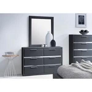 Commode simili noir 6 tiroirs avec miroir Exia  Achat  Vente commode de chambre Commode simili