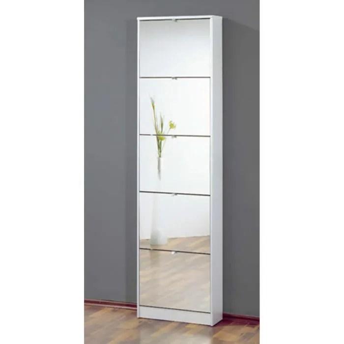 commode meuble a chaussures blanc avec 5 abattants finition miroir l 58 x h 169 x p 18 cm