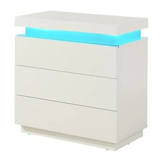 FLASH Commode Contemporain Blanc Brillant L 75 Cm