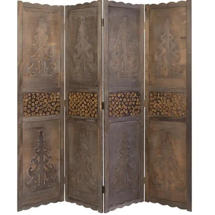 Paravent 4 panneaux marron en bois design  Achat  Vente paravent  Les soldes sur Cdiscount