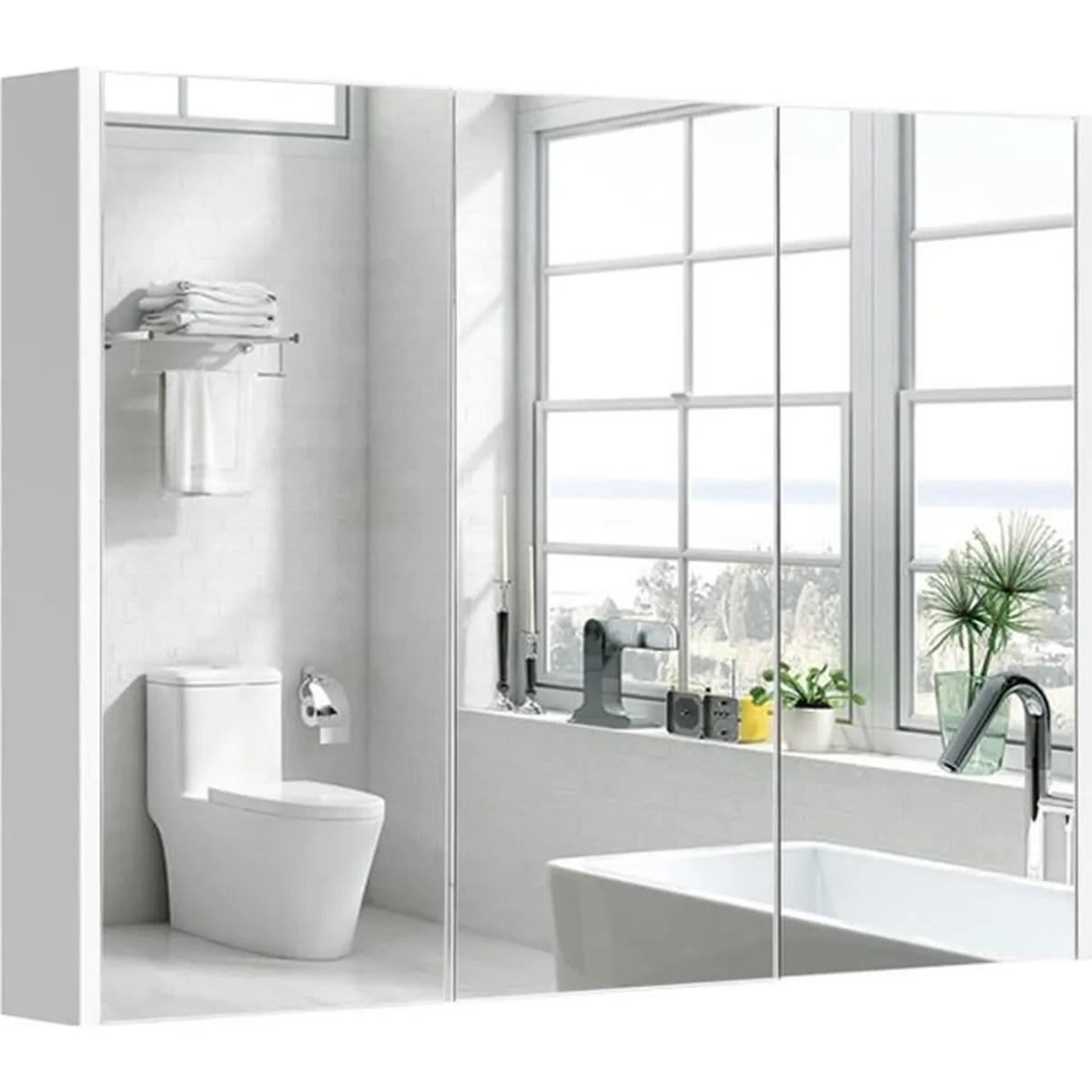 Armoire De Toilette Salle De Bain A Miroir Murale