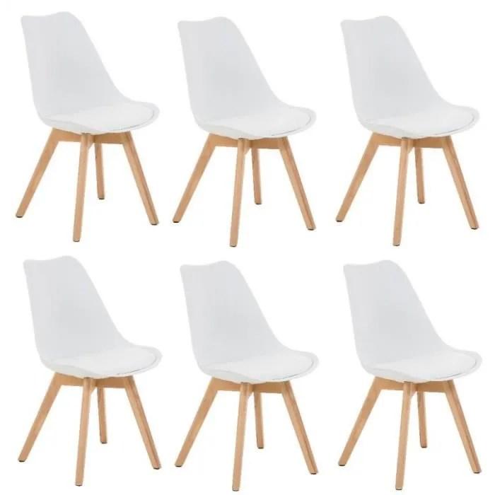 lot de 6 chaises de salle a manger scandinave pu blanc pieds bois cds10201