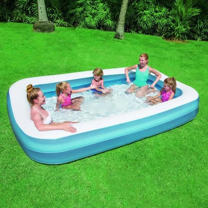 BESTWAY Piscine Gonflable Enfant familiale rectangulaire De Luxe Bleu  305cm X 183cm h 46cm