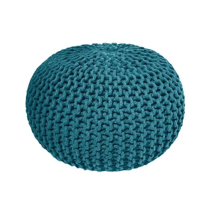 pouf tricot 100 coton 30x40cm goa bleu canard