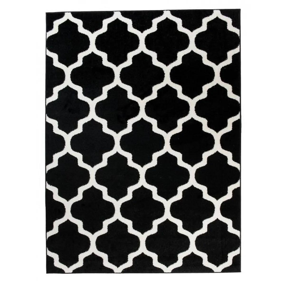 Tapis De Salon Chambre Noir Blanc Motif Oriental Avec Un · Salle ...
