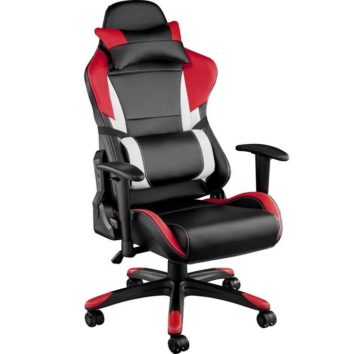tectake chaise de bureau fauteuil de bureau racing sport rembourrage epais hauteur reglable inclinable pivotante rouge noir