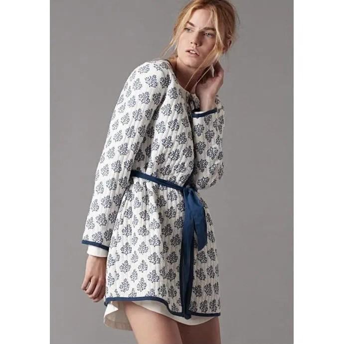 Robe De Chambre Légere Courte Eté Coton Femme Blanche