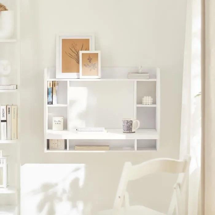 sobuy fwt18 w table murale bureau avec etagere integree armoire de rangement murale blanc